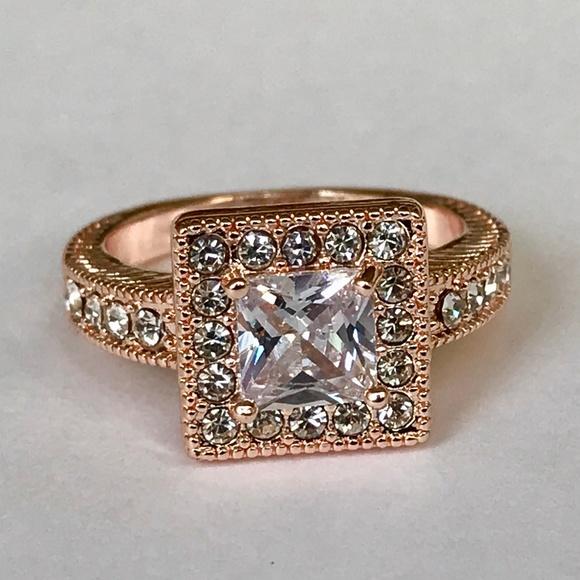 0e44b1de7 Accent Accessories Jewelry   Rose Gold Halo Art Deco Cocktail Ring ...